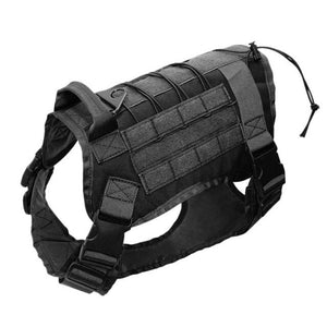 Outdoor Hunting Molle 1000D Nylon Dog Vest Water-resistant Military Tactical Training Adjustable Dog Harness With Handle