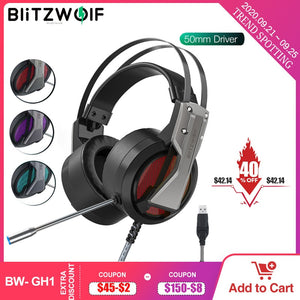 BlitzWolf BW-GH1 Gaming Headset with Microphone 7.1 Surround Sound Noise Isolating Game Wired Headphones Gamer for PC for PS4