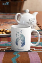 Load image into Gallery viewer, Unchained mug with feathers and flying birds- Isle of T