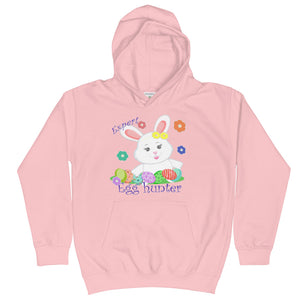 baby pink kids hoodie with a cute white bunny hunts many easter eggs | Isle of T