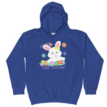 Load image into Gallery viewer, royal blue kids hoodie with a cute white bunny hunts many easter eggs | Isle of T