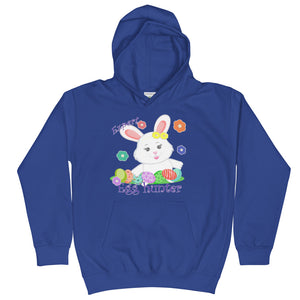 royal blue kids hoodie with a cute white bunny hunts many easter eggs | Isle of T