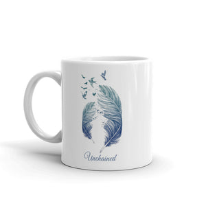 Unchained mug with feathers and flying birds- Isle of T