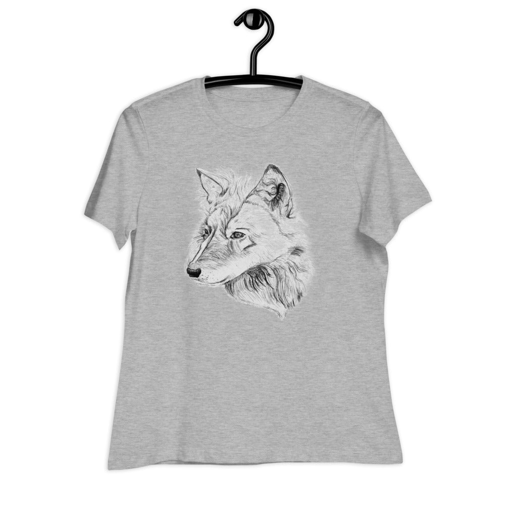 Athletic heather women relaxed T shirt with a wolf dog which is drawn by my daughter | Isle of T