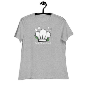 athletic heather women relaxed t shirt with a chef hat and cutlery saying best mom chef | Isle of T