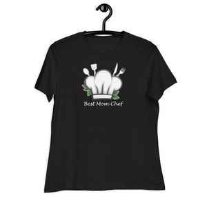 Black women relaxed t shirt with a chef hat and cutlery saying best mom chef | Isle of T