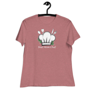 heather mauve women relaxed t shirt with a chef hat and cutlery saying best mom chef | Isle of T