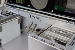 inside of tailgate n go metallic silver brushing color.