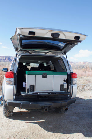 Overlander in the back of a small suv