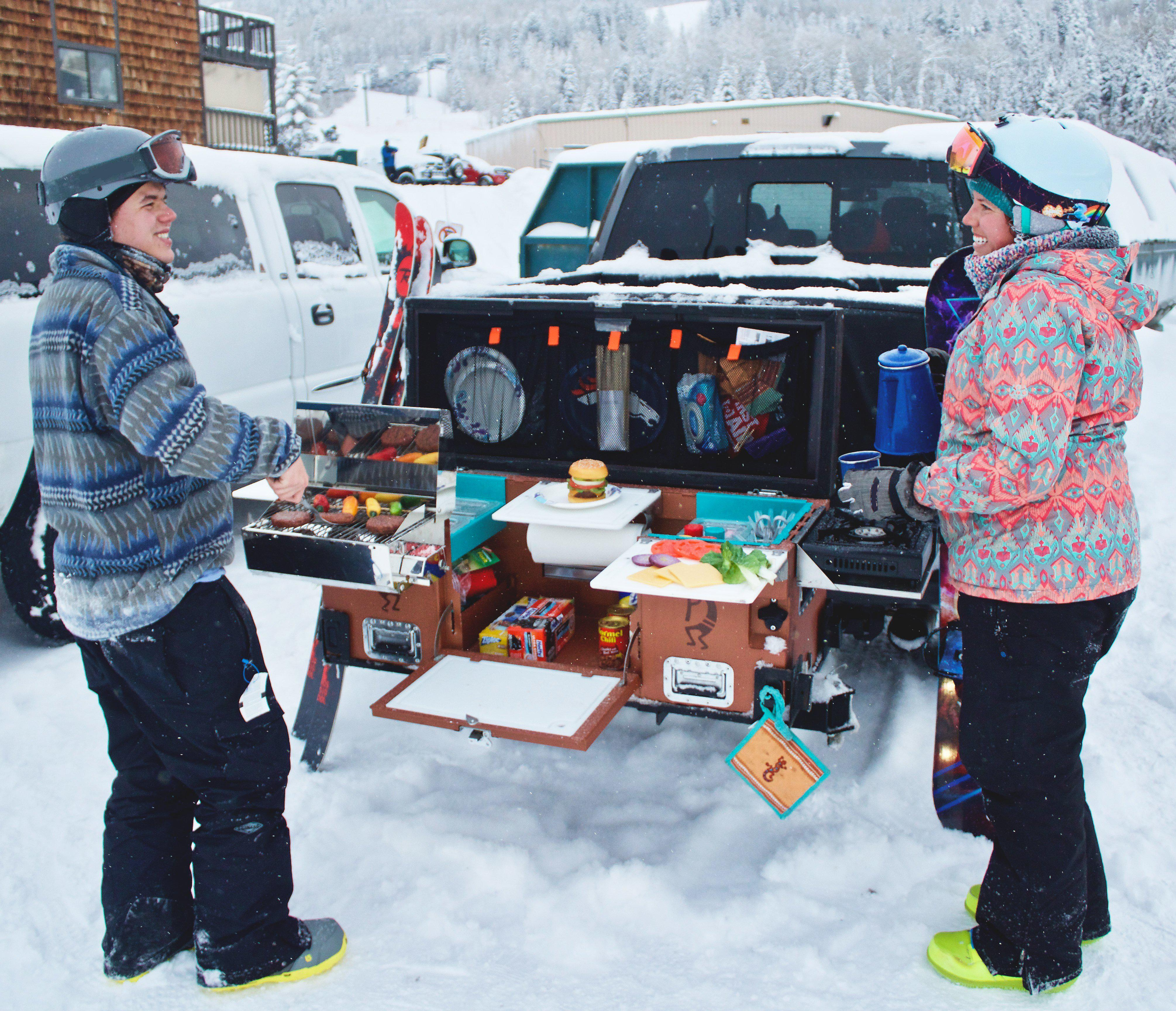 Tailgate N Go fully kitted and being used in the snow by skiers.
