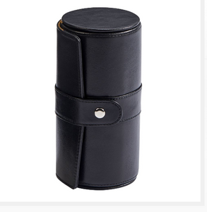 Men's Black Leather Round Jewelry Portable Case | Unique Gifts For Dad Men - Everything Man Shop