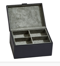 Load image into Gallery viewer, Small Black Leather Box w/Lift Out Tray | Uncommon Gifts For Dad Men - Everything Man Shop