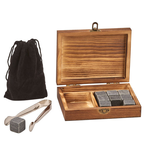 Basalt Whiskey Beverage Stones Wooden Box Set - Everything Man Shop