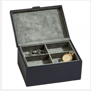 Small Black Leather Box w/Lift Out Tray | Uncommon Gifts For Dad Men - Everything Man Shop