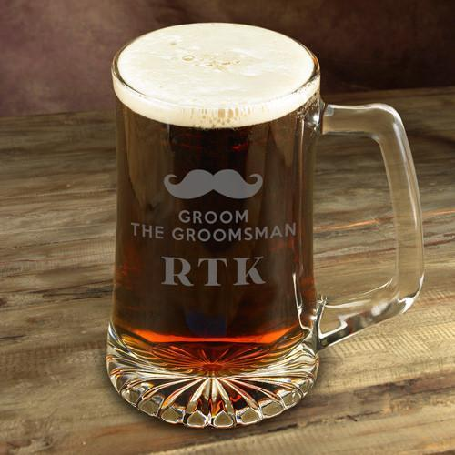 Personalized Etched Mustache IPA Glass Beer Mug | Personalized Gifts For Groomsman - Everything Man Shop