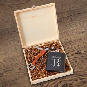 Groomsman Flask And Bottle Opener Wood Gift Box Set Kit - Everything Man Shop