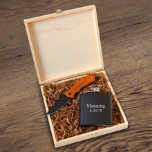 Load image into Gallery viewer, Personalized Black Groomsmen Flask And Knife Gift Box Set - Everything Man Shop