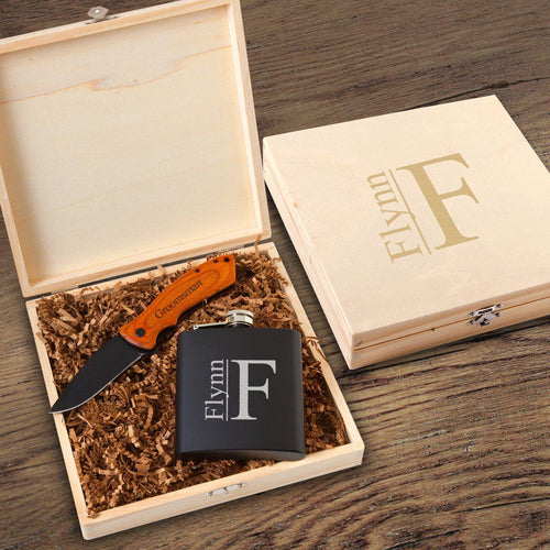 Personalized Black Groomsmen Flask And Knife Gift Box Set - Everything Man Shop