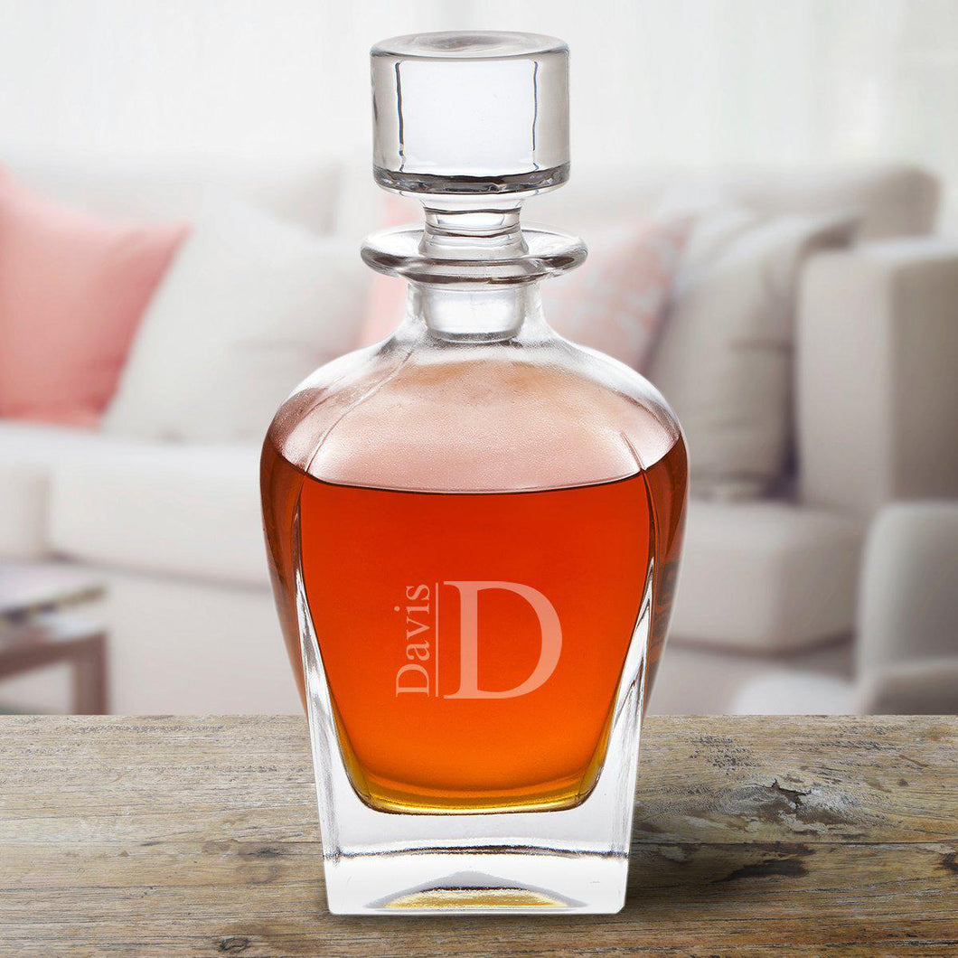 Personalized Glass Bourbon Whiskey Decanter | Personalized Barware - Everything Man Shop