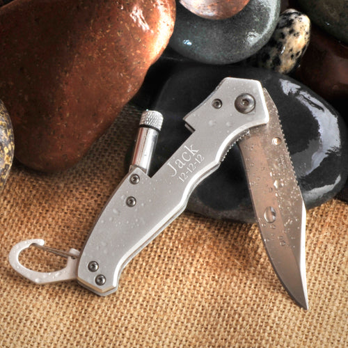 Personalized Klondike Lockback Folding Knife with Flashlight | Personalized Gift For Him - Everything Man Shop