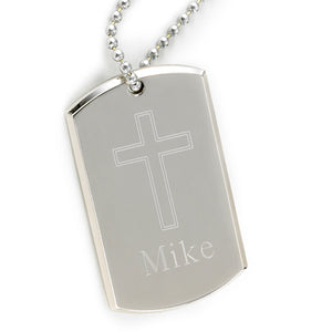 Men's Silver Large Engraved Dog Tag Cross - Everything Man Shop