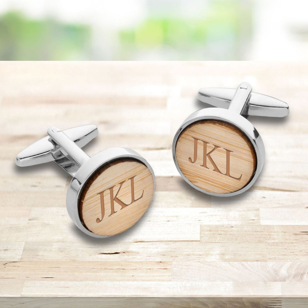 Men's Personalized Light Brown Color Wood Bamboo Cuff Links - Everything Man Shop