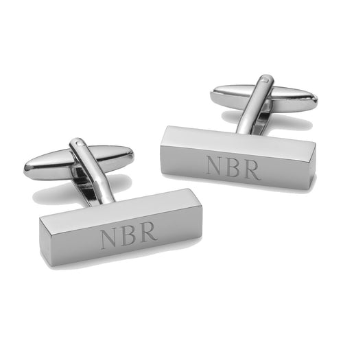 Men's Silver Personalized Rectangle Cufflink Bars - Everything Man Shop