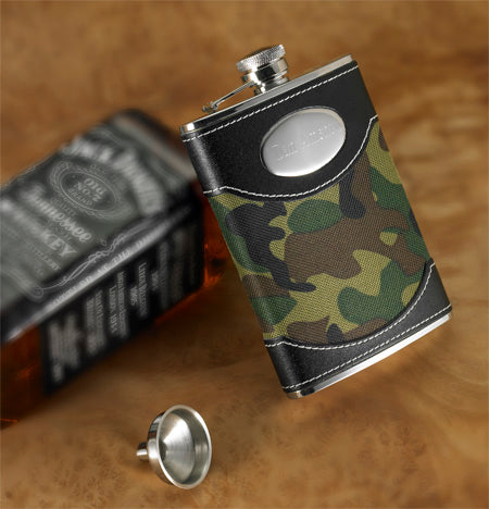 Personalized Green Camouflage Camo Flask And Funnel - Everything Man Shop