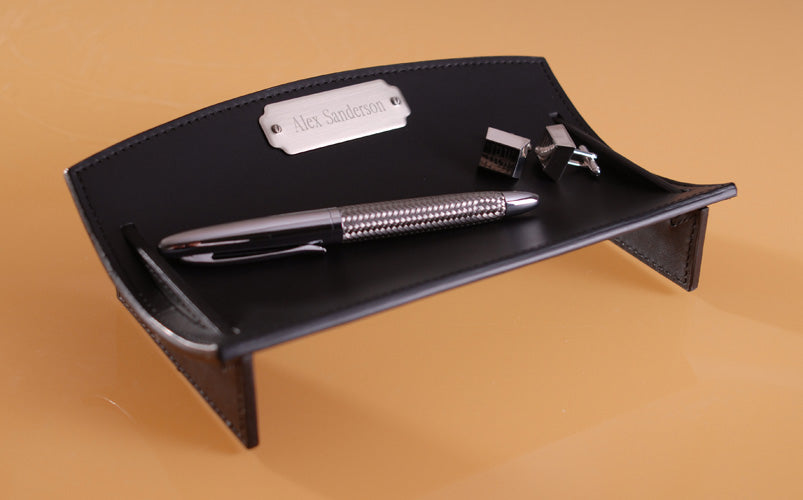 Personalized Executive Black Leather Desk Caddie - Everything Man Shop