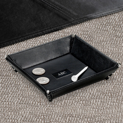 Personalized Custom Black Plate Leather Stash Tray For Men - Everything Man Shop