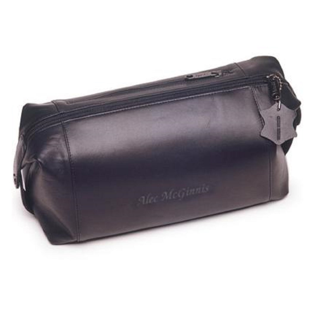 Men' Personalized Engraved Black Leather Travel Toiletry Bag - Everything Man Shop