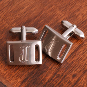 Men's Personalized Brushed Silver Cufflinks - Everything Man Shop