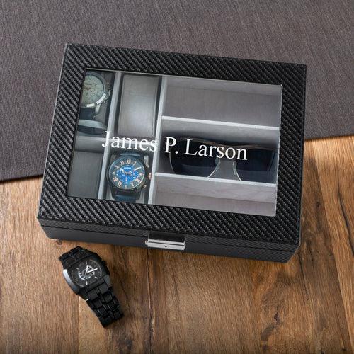 Personalized Black Men's Watch and Sunglasses Box Holder - Everything Man Shop