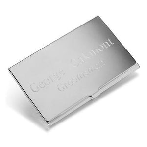 Personalized Silver Executive Business Card Case Holder - Everything Man Shop