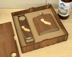 Wood Flask And Bottle Opener Box Gift Set | Sustainable Gifts For Men - Everything Man Shop