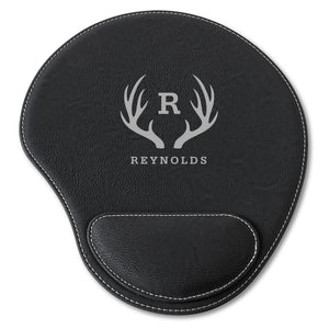 Personalized Black Faux Leather Computer Mouse Pad - Everything Man Shop