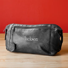 Load image into Gallery viewer, Personalized Men's Black Leather Embroidered Lettering Travel Kit - Everything Man Shop