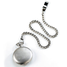 Load image into Gallery viewer, Engraved Men's Brushed Silver Pocket Watch Timepiece - Everything Man Shop