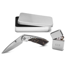 Load image into Gallery viewer, Personalized Engraved Lock Back Knife and Lighter Gift Set - Everything Man Shop