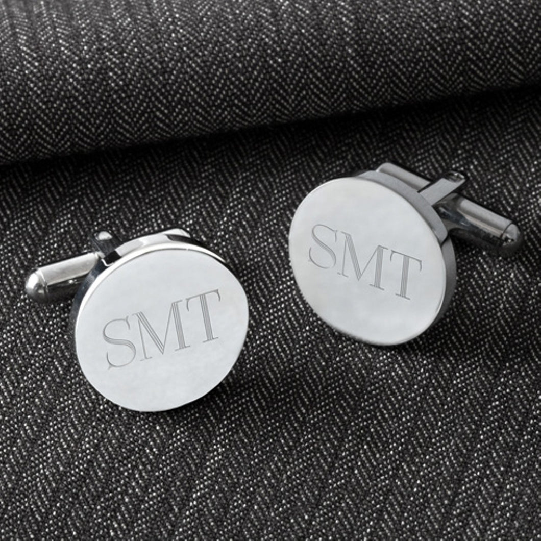 Classy Engraved Monogrammed Round Modern Cufflinks | Perfect Engraved Gift For Men - Everything Man Shop