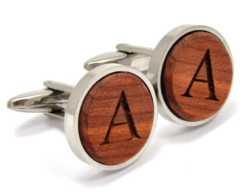 Wood And Stainless Steel Monogram Cufflinks | Unique Gifts For Men - Everything Man Shop