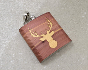 Cedar And Maple Wood Whiskey Bourbon Deer Flask | Handmade Gifts For Men - Everything Man Shop