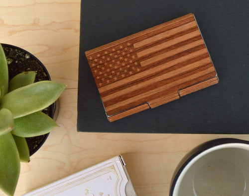Wood American Flag Patriotic Business Card Case Holder | Executive Gifts For Men - Everything Man Shop