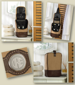 Personalized Men's Canvas and Leather Travel Kit - Everything Man Shop