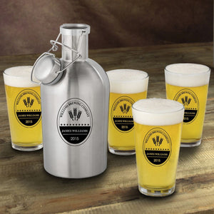 Stainless Steel Beer Growler with Pint Glass Set - Everything Man Shop