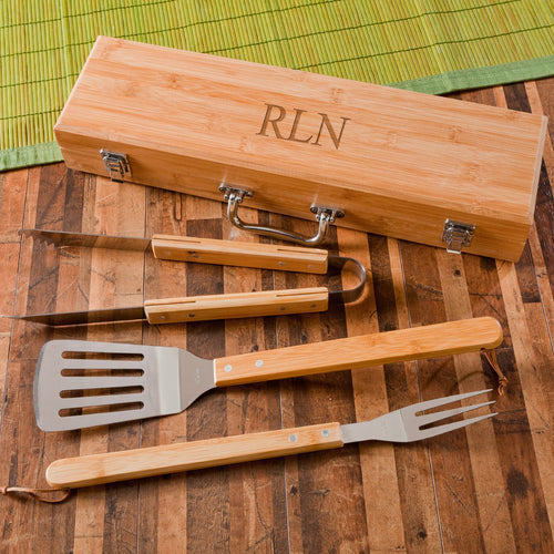 Personalized Bamboo Wood Grilling Tools And Box | Unique Gifts For Men - Everything Man Shop