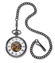 Load image into Gallery viewer, Men's Engraved Gunmetal Gray Exposed Gears Pocket Watch & Chain - Everything Man Shop