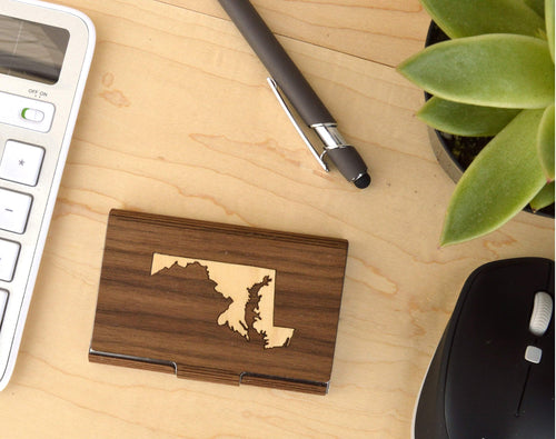 Wood State Logo Business Card Case Holder | Executive Gifts For Men - Everything Man Shop