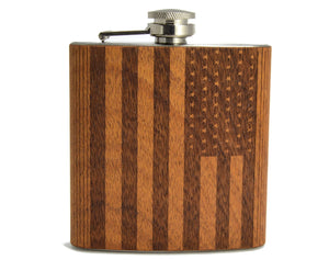 Cherry Wood American Flag Flask | Unique Gifts For Women - Everything Man Shop