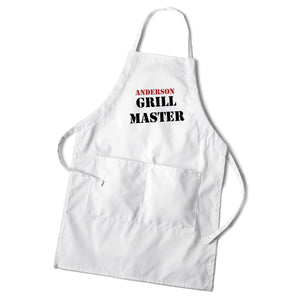 Personalized Custom White Grilling Cooking BBQ Apron | Men's Personalized Gifts - Everything Man Shop